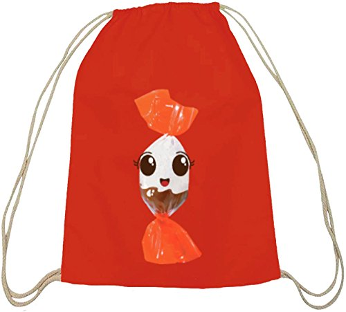 ShirtStreet Turnbeutel süßes Schokoladen BonBon Partner Kostüm für Fasching Karneval für Naschkatzen, Größe: onesize,rot natur