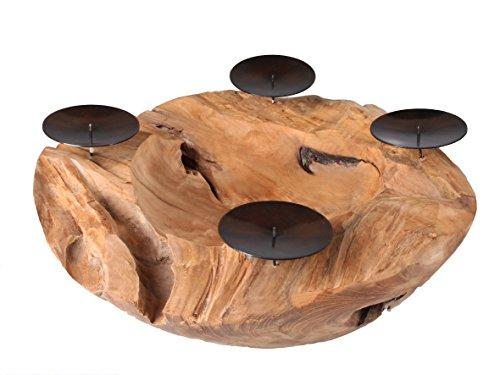 Ambientehome Java Exclusiv 32451 Schale Dino, Ø ca. 40 cm mit 4 Kerzenpicks, aus Teakholz, echte Handarbeit