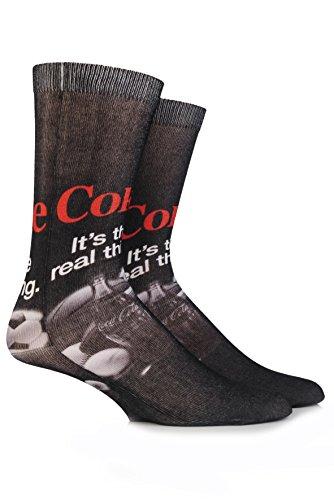 Coca Cola Herren 1 Paar The Real Thing Printed Socken 7-12 Schwarz