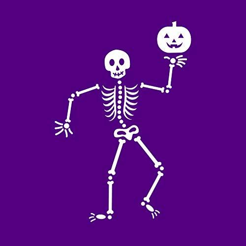 Vinyl-Wandaufkleber - Happy Skelett - 86,4 x 58,4 cm - lustige Gruselige Halloween-Dekoration - Kinder Teenager Erwachsene Innen Außen Wand Fenster Wohnzimmer Büro Decor 34