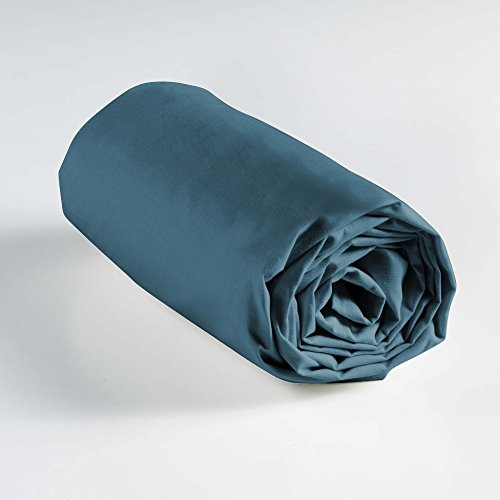 Douceur d'Intérieur Lina Drap Housse 1 Personnes, Coton, Bleu Nuit, 90 x 190 cm