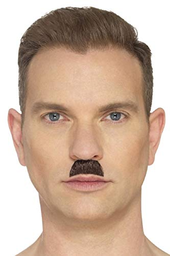 Mens Adults False Fake Self Adhesive Stick On Brown Toothbrush Style Moustache Fancy Dress Costume Outfit Accessory (Brown)