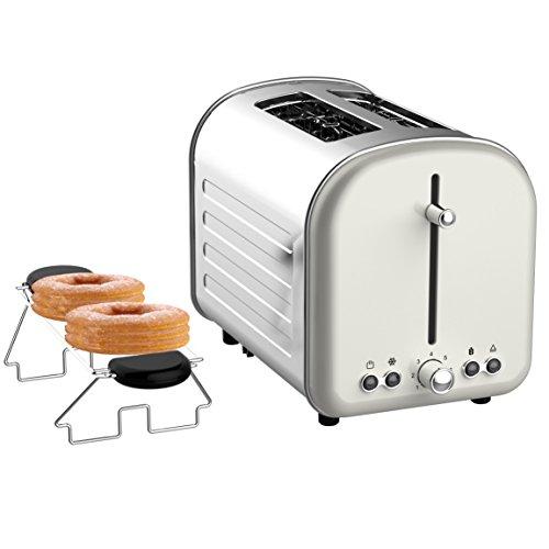 Limee toaster 2 tranches rétro large chignon fente grille-pain chaud avec fonction anti-bourrage et faites glisser le plateau à miettes (Crème)
