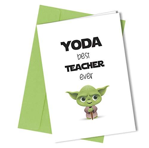 Tarjeta felicitación mejor profesora Yoda, tamaño