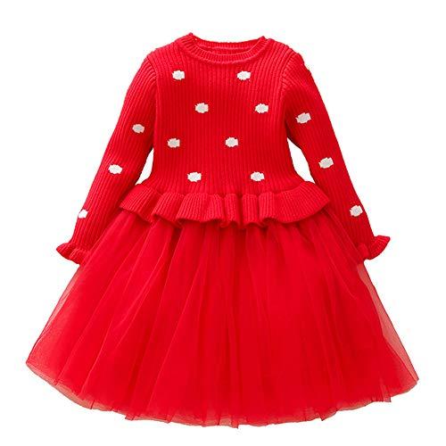 n Langarm Kleid Party Kostüm Strickpullover Herbst Outfits Polka Dot Size 120 (Red) ()