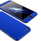 2ndSpring iPhone 6 6S Funda, Funda iPhone 6S 360 Grados Integral para Ambas Caras + Cristal Templado, Luxury 3 in 1 PC Hard Skin Carcasa Case Cover para iPhone 6 6S Azul