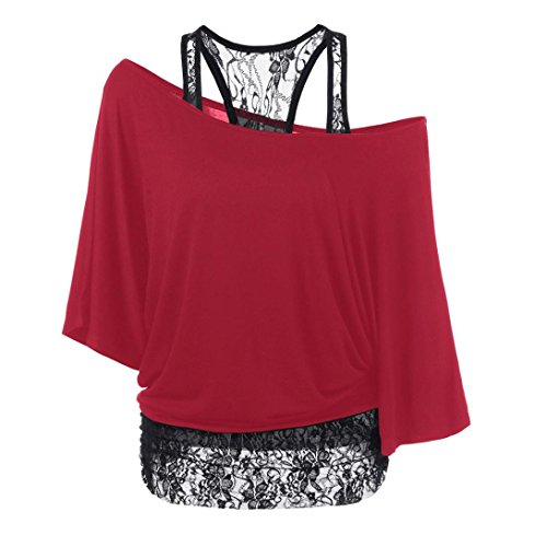 HARRYSTORE Frauen Casual Loose Bluse Plus Size Lace Splicing ein Schulter Tops T-Shirt (XX-Large, Rot) (Junioren T-shirt Marines)