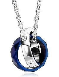 Adisaer Paar Kette Herren Damen Edelstahl Anhänger Silber Rosa Blau Gold  Diamant Zirkonia Unregelmäßig Ring Halskette mit Anhänger für… efb72681c9