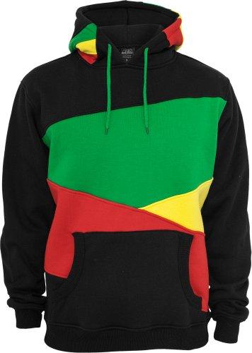 URBAN CLASSICS Zig Zag Hoody TB205 black/rasta L (Fashion Rasta)