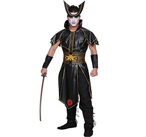 Dreamgirl Herren Kostüm japanischer Krieger Samurai Miyamoto schwarz Fasching Karneval M, L, XL, XXL - Dreamgirl Herren Kostüm