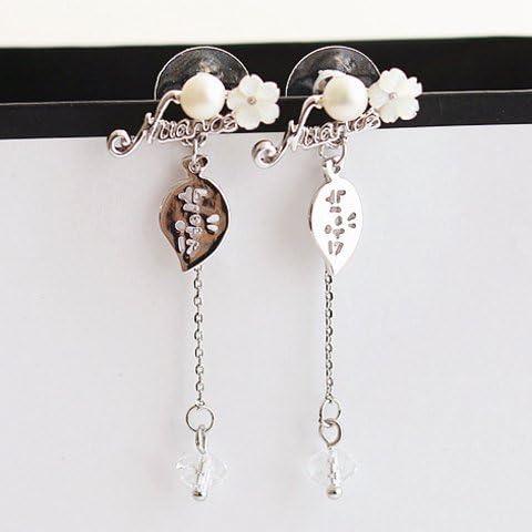 Elegante perla di Faux del foglio e floreale nappe orecchini, Foglia nappe orecchini per le donne, le