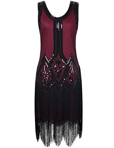 PrettyGuide Femme Ann¨¦es 1920 Vintage Perle Frange Inspired Robe Charleston L Bourgogne