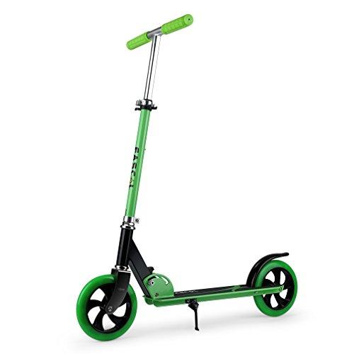 Fascol Klappbar Scooter - Jugendlichen Roller ab 5 Jahre, Belastbarkeit bis 75 kg, 2 Leuchträder, verstellbare Höhe(75-90-97-104cm), Grün