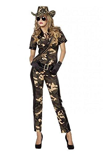 shoperama Damen Kostüm Soldatin Overall mit Gürtel Camouflage -