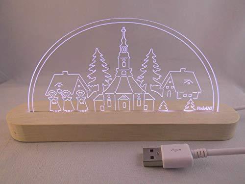 LED Bogen Schwibbogen Leuchterbogen Seiffener Kirche mit Kurrende USB Motivlampe Nachtlicht LED Deko Bild