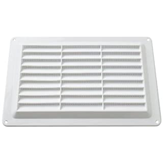 Merriway™ BH01158 Bulk Hardware Louvered Air Vent Grille with Removable Flyscreen (Vent Aperture Size: 227 x 133mm, Overall Vent Size: 257 x 163mm) - White Plastic