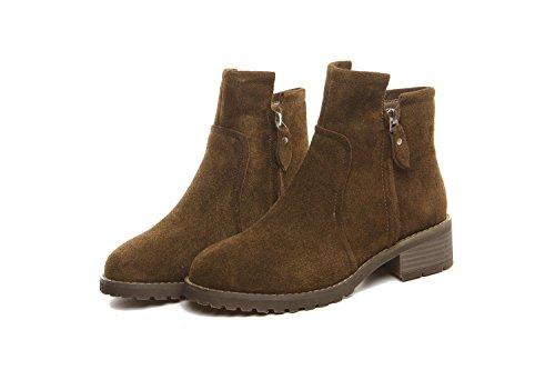 YYH Vintage Martin Boots femminile britannico stile studenti macchia inverno ragazze tacchi stivali alla caviglia scarpe , khaki , 37