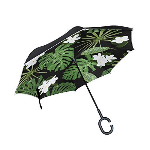White Gardenia Flowers Duftende Double Layer Folding Anti Uv Schutz Winddicht Regen Gerade Autos Golf Reverse Inverted Umbrella Stand Mit C förmigen Griff -