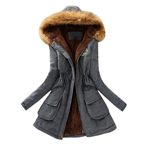 FEITONG Chaqueta de mujeres Abrigo largo caliente Cuello de piel con capucha Chaqueta Parka de invierno Desgastar (S=Tamaño asiático M, Gris)