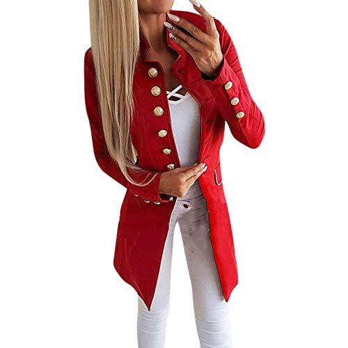 KOKOUK Women Autumn Winter Warm Comfortable Coat Casual Fashion Jacket Simple Office Lady Lapel Suit Coat Long-Sleeve Jacket Button Coat (Red) Butterfly Capri-jeans