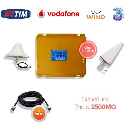KIT AMPLIFICATORE RIPETITORE SEGNALE GSM UMTS 3G ANTENNA TIM WIND VODAFONE TRE CAVO 10 METRI