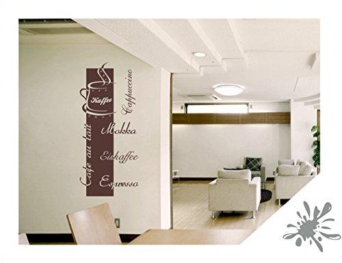 Wandtattoo Cappuccino Espresso Mokka inkl. SWAROVSKI Strass Küche Büro Lounge (kfe03 mittelgrau) 100 x 45 cm mit Farb- u. Größenauswahl