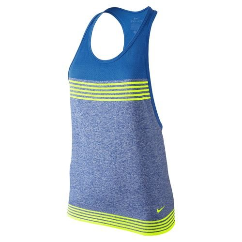 Nike Damen Dri-FIT Knit Loose Trainings-Tanktop, Spiel Royal / Soar / Volt, X Large (Top Nike-loose-training)