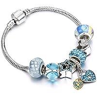 WZMFBH Crystal Crown Heart Charm Bracelets & Bangles Sliver Cadena De Serpiente para Mujer Joyería Fit Brand Original Beads DIY Pulsera Regalo