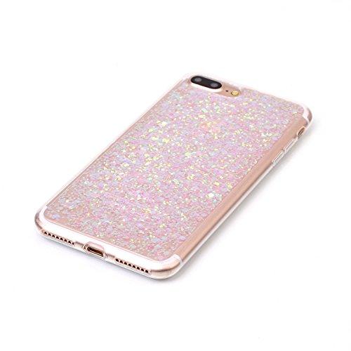 Custodia per iPhone 7 Plus / iPhone 8 Plus 5.5 Sparkling Glitter - Girlyard Morbida Silicone Case Glitter Bling Opaco Brillantini Luminosa Lucido Disegni Puro Paillettes Antiurto Sottile per Apple iP Rosa