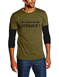 """Layered Long-Sleeved T-Shirt M - XXL Various Colours """"Das Leben ist DOCH ein Ponyhof"""" / """"So life IS a bed of roses!' (German Text)"""