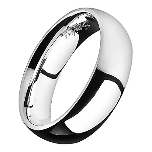 Piersando Band Ring Edelstahl Bandring Ehering Partnerring Trauring Verlobungsring Damen Herren Freundschaftring Silber Größe 52 (16.6) Breit 5mm