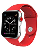 Apple Watch Band, Soft Silicone iWatch Strap Replacement Sport Band for Apple Watch Band Series 3 Series 2 Series 1 (42MM-Red)