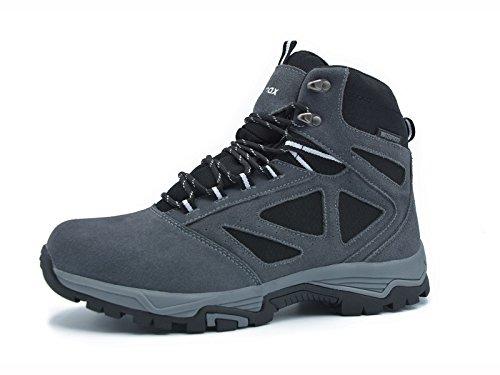 Knixmax Damen Wanderschuhe Hiking Schuhe Outdoor Anti-Rutsch-Sohle Wasserdicht Trekking-Wanderhalbschuhe, Grau, 40 EU (7 UK) (Damen-wildleder-kalt-wetter-stiefel)