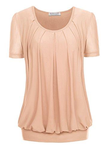 Stretch Tunika Bluse (BAISHENGGT Damen Falten Kurzarmshirt Rundhals Kragen Stretch Tunika Bluse Apricot L)