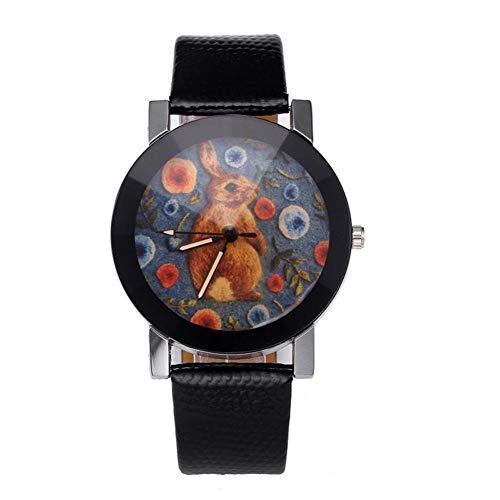 Neufday Modische Kaninchen Muster Zifferblatt pu Lederband lässige Uhr -