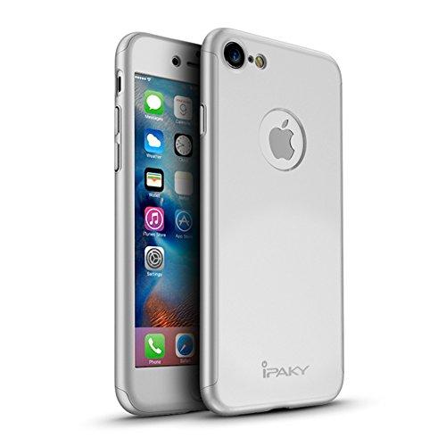 Yinano® iPhone 7 Plus Caso,Full Body Ultra Sottile PC Difficile Cover Case Vetro Temperato Proteggi Schermo 3 in 1 Design Front custodia&Indietro Caso&Vetro Film Lusso Protezione Completa (iPhone7plus argento