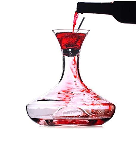 Carafe à décanter,decanteur a vin,décanteur Rapide, Bouteille de Whisky en Verre de Cristal, Boule de sillage en Acier Inoxydable,Outils de Bar, Accessoires de Cuisine -1500ML