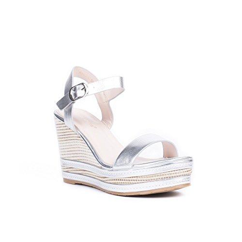 Ideal Shoes Sandales Compensées et Nacrées Amelyne Argent