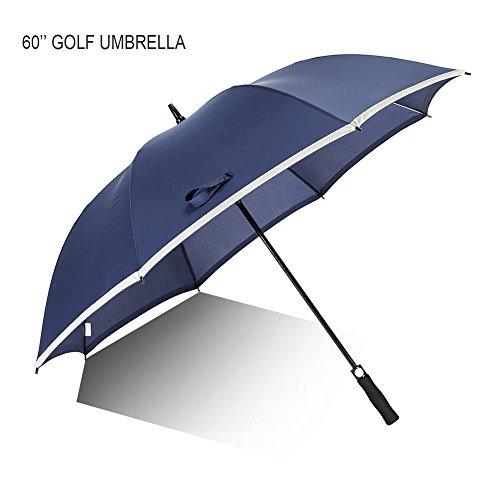 60 '' Parapluie de Golf, AMBRELLAOK Sports, Coupe-Vent, ImpermÉAble Et Anti-UV Auto Grand Ouvert Droit Sun-Pluie Parapluie Pour Hommes SurdimensionnÉ Avec Tuyau RÉFlÉChissant Sûr (Bleu Marine)
