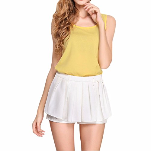 QIYUN.Z Couleurs De Bonbons Les Femmes D'ete Sans Manches Licol Cou Mousseline Tops Vestes Chemises Jaune