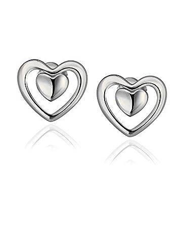 Boucles d'oreilles coeur pour cadeau d'anniversaire de petite amie avec plaqué or blanc Borong