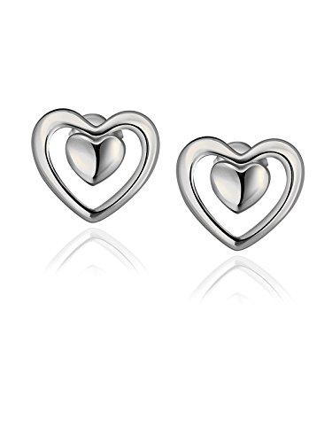 Herz-Bolzen-Ohrringe für Freundin-Geburtstags-Geschenk mit weißem Gold überzogenes (Aus Kostüm Dieser Heraus Welt Ideen)