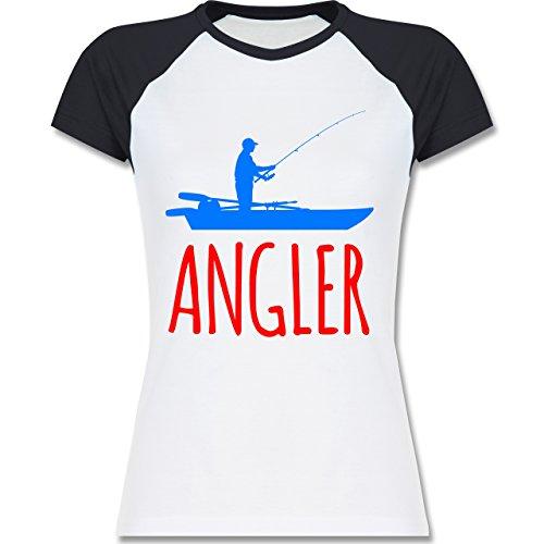 Angeln - Angler Boot - Angelboot - zweifarbiges Baseballshirt / Raglan T-Shirt für Damen Weiß/Navy Blau