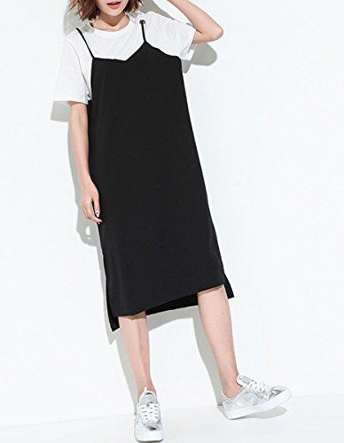 ELLAZHU Damen Fashion 2in1 Weiß T-Shirt + Schwarz Chiffon Seitenschlitze Knielang Kleid GT107 GT107 Black