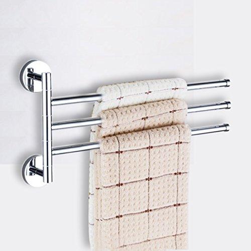 PHOEWON Drehung Handtuchhalter mit 3 Schwing Armen 180°Edelstahl Handtuchstangen bad Handtuchhaken Chrom, Schwenkbar