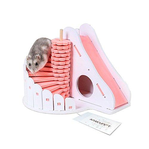Criceto nano, casa di legno, gabbia di legno, piccolo giocattolo fai da te, due strati, scivolo, castello, nido, per piccoli animali come il criceto nano, il topo di gerbillo