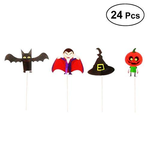 BESTONZON 24 Stücke Cupcake Toppers Halloween Kuchen Topper Kuchen Picks für Kinder Geburtstag Festival Party Dekoration (Vampir + Bat + Kürbis + Hexenhut)