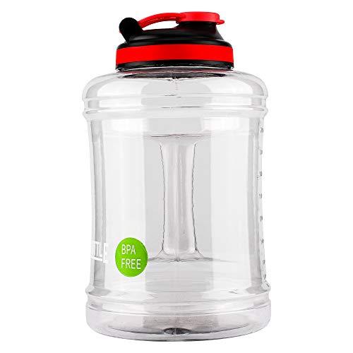 RINBOTTLE Big Kapazität 2,5l Sport Trinkwasser-Flasche Klar, BPA-frei Krug Behälter für Fitnessstudio, Outdoor Sport, Wandern, Bodybuilding, Fitness, farblos -