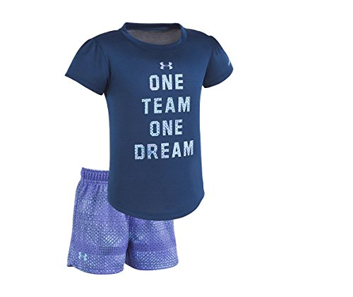 Under Armour Baby Girls' Lumos Tee and Shorts 2 Piece Set (24 Months, One_Team_One_Dream (27C12033-41)/Blackout Navy) (24 Monat Under Armour)