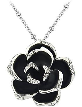 Le Premium® Elegant Stieg Kristall Anhänger Halskette Schwarz Weißes Gold überzogen + Original Le Premium® Geschenkkarton